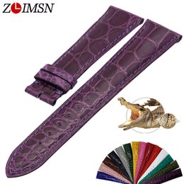 $enCountryForm.capitalKeyWord Australia - Zlimsn Simple Fashion Genuine Alligator Strap 15 Colors Round Pattern Comfortable For Men's Women Leather Watch Band 12mm-26mm T190708