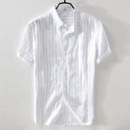 3c4514d5 Mens White Linen Shirts Australia - 2018 New brand men's linen  short-sleeved striped shirt