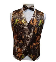thin trunks UK - 2019 New Airtailors Camo Wedding Vests Groom Vest Single Breasted Tree Trunk Leaves Spring Camouflage Slim Fit Mens Vests
