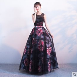 Wholesale New Design A Line Evening Dresses Floral Skirt Printed Ladies Sleeveless Sweep Train Women Maxi Dress Prom Gowns Special