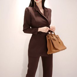 Women Wearing Double Breasted Suit Australia - Women Irregular jumpsuit Double-breasted Blazer Jacket and Slim Pencil Pant 2 Pieces Set Female Wear to office Business jumpsuit