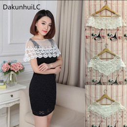 lace cape crochet 2019 - Women's Sweet White Hollow Crochet Lace Tassels Knit Wide Collar Cape Shawl cheap lace cape crochet
