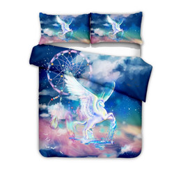Chinese  HD Digital Printed Unicorn 2PC 3PC Duvet Cover Set Printing Bed Linens Single US Twin Queen King Size Duvet Cover Pillowcase Set manufacturers