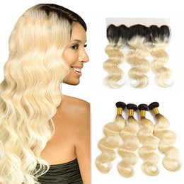 Blond human hair online shopping - ombre b body wave hair with lace frontal Peruvian human hair bundles with frontal blond body wave human hair extension