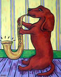 $enCountryForm.capitalKeyWord Australia - Animals Art Dachshund Dog Playing Saxophone, Oil Painting Reproduction High Quality Giclee Print on Canvas Modern Home Art Decor