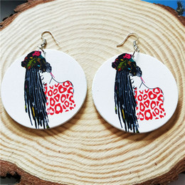 Painting Wood Jewelry Australia - Europe and America Africa retro wood painted round earrings female national wind earrings personalized ear jewelry
