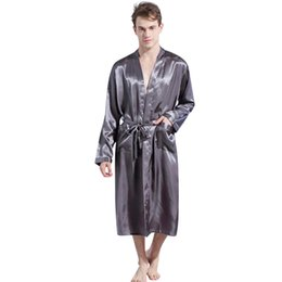 b755c1b864 Men Satin Robes Australia - 2019 New Spring Autumn Luxury Bathrobe Men  Solid Satin Pajamas Kimono