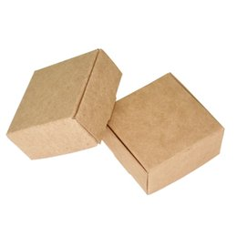 Kraft Jewelry Gift Boxes UK - 5.5*5.5*2.5cm 50pcs lot Brown Handmade Soap Wedding Party Candy Packaging Boxes Kraft Craft Paper Jewelry Pack Boxes Gift Package Box