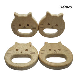 wholesale wood pendants Australia - 10pcs Natural Wooden Teether Cat pendant Beech Wood Stroller Toy Organic Gift for Newborn Baby Teether Food Grade DIY Baby Teething Jewelry