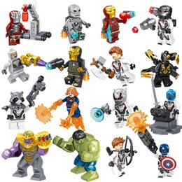 avengers super heroes iron man Canada - 16pcs Avengers 4 End Game Super Hero Iron Man Hulk Rocket Thor Thanos Hawkeye Captain America War Machine Building Block Toy Action Figure