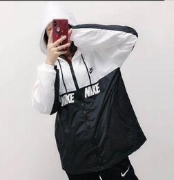 Ingrosso Lettere stile esplosione - giacca giacca uomo e donna giacca a vento nuova moda bianco e nero giacca cappotto taglia S-2xL
