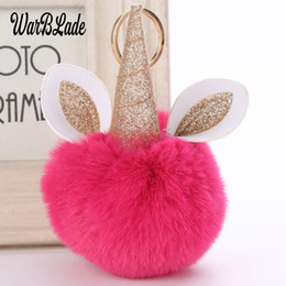 Artificial Chains Wholesalers Australia - WBL Cute Fluffy Unicorn Key Chain Fashion Artificial Fox Fur Pompom Ball unicorn Keychain Porte Clef Women Bag Car Keyring