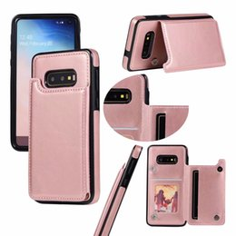 Discount iphone card box case - S10 ID Card Pocket Case For Iphone XR XS MAX 8 7 6 Galaxy S10e S9 Retro Multifunction Luxury Wallet Leather+TPU Holder C
