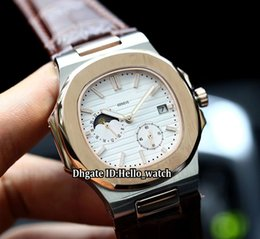 Tone model online shopping - Cheap New Model Sport Nautilus White Dial Automatic Mens Watch Moon Phase Sapphire Glass Two Tone Rose Gold Case Leather Strap Watches