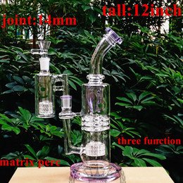 Discount 14 inch honeycomb perc bong Green black pink purple blue glass bongs 3 layers honeycomb perc dab rig water pipe 12 inches 14 mm female joint with co