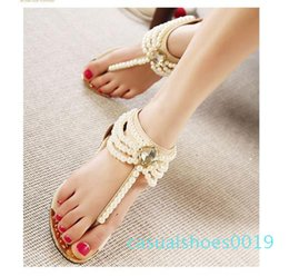 hot flops shoes Canada - Hot Sale-new pearl chain beads with rhinestone sandals flat heel flip flops fashion sexy women sandals shoes ePacket Free Shipping c19