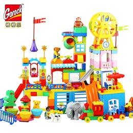 Опт Горок 230ШТ большие блоки счастливый Dreamland строительные блоки набор дети DIY творческий совместим с Duploe игрушки детские подарки