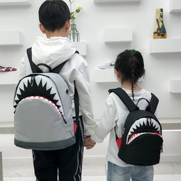 shark backpack NZ - Children's Bag Personality Shark Children's Bag Backpack Cartoon Canvas Primary School Backpack