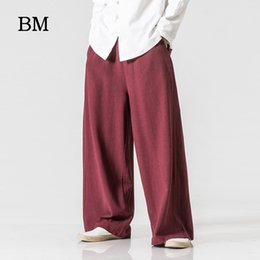 yoga pants flare 2020 - Chinese Style Linen Pants Men Loose Flared Pants Large Size 5XL Fashion Casual Wide-Leg Yoga Skirt Thai Trousers cheap y