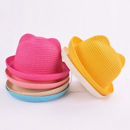 $enCountryForm.capitalKeyWord Australia - Fashion Lovely Girls Boys Straw Hats Headdress Summer Baby Sun Hat Cute Ear Solid Floppy Beach Cap For Children