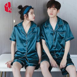 Wholesale man pajama silk resale online - Summer Silk Men Pajama Set Satin Sleepwear Men Suits Short Pyjamas Short Silk Men s Pajamas Solid Men s Sleepwears Sets L XL XXL