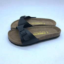 Black leather clogs online shopping - Unisex Clogs PU Leather Sandals for Men and Women One Strap Slides Honeymoon Matching Shoes for Couples Styles Birko Corks Solid Color