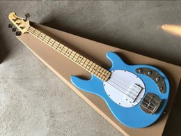music bass guitar Canada - Blue Music Man Ernie Ball Sting Ray 4 Strings Bass Passive Pickup Electric Guitar Maple Fingerboard Chrome Hardware