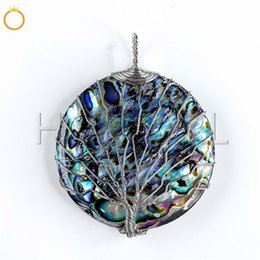$enCountryForm.capitalKeyWord Australia - Tree of Life Pendant Abalone Shell Paua Round Shape Organic Cabochon Beautiful Rainbow Colors 5 Pieces