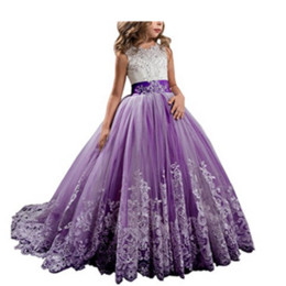 $enCountryForm.capitalKeyWord Australia - Little Girl Kids Clothing Lace Applique Full Length Ball Gown Flower Girl Dress Wish Bow Sash For Wedding Formal Occasion party F02