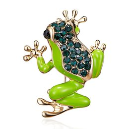 Frog Gold 18k Australia - 2018 Fashion Frog Brooch Pin Jewelry for Party New Enamel Pins and Brooches for Women Cute Rhinestone Animal Brooches for Best Friend