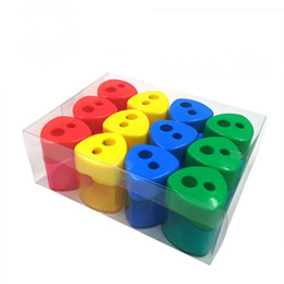 Double hole pencil sharpener Triangular Shaped Pencil Sharpener With Cover and Receptacle Red Blue Yellow and Green on Sale