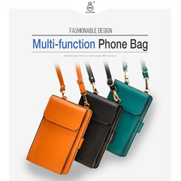 Cell Phone Pouch Neck Australia - wholesale Universal PU Leather Cell Phone Female bag Shoulder Pocket Wallet Pouch Neck Strap Square bag For Samsung For iPhone