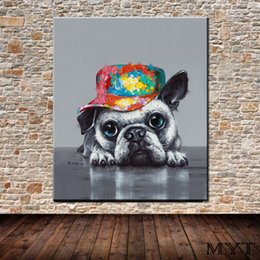 $enCountryForm.capitalKeyWord Australia - Hot sale cheap wall pictures HD printed animal gray dog with hat Wall art Picture Home Decor for Living Room on Canvas Printing no framed