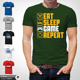 Playstation Games Free Australia - Eat Sleep Game Repeat Gaming Gamer Tee T-Shirt Xbox Playstation Unisex Green 1Funny free shipping Unisex Casual Tshirt top