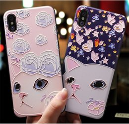 $enCountryForm.capitalKeyWord Australia - 3D Three-Dimensional Relief For iphone 7 Case Hippo Elephant Cat Flower Pattern For iPhone 6 6S 7 8 plus X Soft Silicone Case