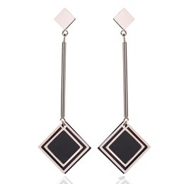 $enCountryForm.capitalKeyWord Australia - 2019 American and European New Trendy Top Design Long Tassel Charm Black Enamel Stainless Steel Earring