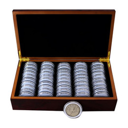 Chinese  50 Coin Storage Boxes Round Coin Storage Wooden Box Commemorative Collection Box Furniture Acrylic manufacturers