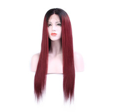 long straight dark brown wigs Australia - Ombre 1BT99J Full Lace Wig Brazilian Virgin Hair Silky Straight Lace Front Human Hair Wig Red With Dark Roots Long For Women