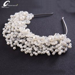 White Gold Hair Australia - Gold White Handmade Pearl Bridal Tiaras Luxury Wedding Headbands Bridal Headpiece Prom Hair Jewelry Wedding Hair Accessories C18122801