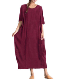 65a8805d325b Long Maxi Dresses Women ZANZEA 2019 Summer Casual Loose Solid Color Round  Neck Half Sleeve Cotton Party Bodycon Pockets Dress