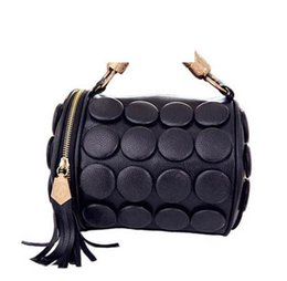 Shaped Handle Australia - New 2019 Women Tote Bags Designer Handbags Dot Pattern With Tassel Metal Handle Barrel-shaped Pu Leather Handbag Ladies Ab0115