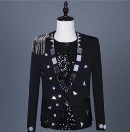 Punk Style Suit NZ - Black singers sequins blazer men suits designs lens tassel jacket mens stage costumes clothes dance star style dress punk rock