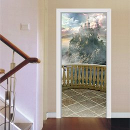 home balcony decoration plants NZ - Cariel Balcony scenery castle door wall Sticker Graphic Unique Mural Cosplay Gifts for living room home decoration Pvc Decal paper WN651B