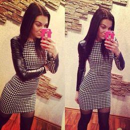 $enCountryForm.capitalKeyWord Australia - Brand E5 Newest 2016 Spring Women Sexy Pu Leather Black Long Sleeve Splice Grid Winter Simple Plus Size Dresses #396136