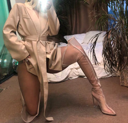 $enCountryForm.capitalKeyWord NZ - Arden Furtado 2019 spring autumn high heels pointed toe Fashion Green grey orange mesh chunky heels crystal heels Thigh-High Boots 45 46