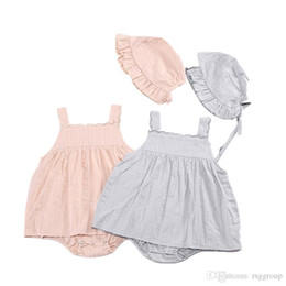 $enCountryForm.capitalKeyWord Australia - INS Fall Toddler Baby Girls Rompers Blank Pink Long Sleeve Jumpsuits with Hat 2pcs Set Square Collar Kids Girls Bodysuit Baby Romper 0-3T