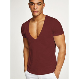 cotton muscle tee NZ - Pure Cotton Shirt Homme Running Men Deep V Neck Quick Dry T-Shirts Sexy Man Tops Sport Men's Fitness Gym T Shirts Muscle Tees