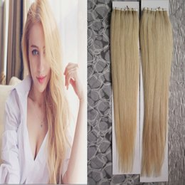 Bleached Burgundy Hair Australia - 200G skin weft tape hair extensions 80pcs lot Tape In Human Hair Extensions brazilian Straight #613 Bleach blonde hair products