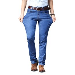 fly business NZ - Plus size 40 42 44 46 Stretch jeans 2019 New Summer Thin blue Trousers Slim fit Straight Business Casual Denim Pants,Y1836