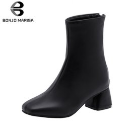 elegant high heel fur boots 2019 - BONJOMARISA New Elegant Square Toe Booties Ladies Plus Size 28-52 Winter Fur Ankle Boots Women 2019 High Heels Shoes Wom